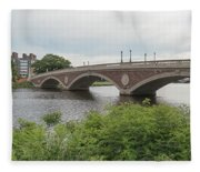 Arch Bridge Over River, Cambridge Fleece Blanket