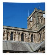 architecture of Hexham cathedral and clock tower Fleece Blanket
