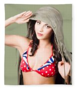 Army Pinup Saluting Retro Fashion In 1940 Style Fleece Blanket
