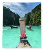 Arriving In Phi Phi Island, Thailand Fleece Blanket