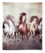 Galloping Horses Magnificent Seven Fleece Blanket