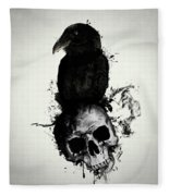 Raven And Skull Fleece Blanket