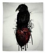 Raven And Heart Grenade Fleece Blanket