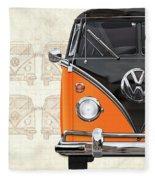 Volkswagen Type 2 - Black And Orange Volkswagen T1 Samba Bus Over Vintage Sketch  Fleece Blanket