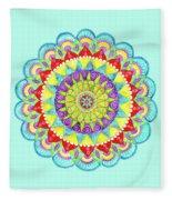 Mandala Of Many Colors On Turquoise Fleece Blanket