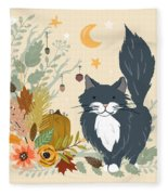 Autumn Garden Moonlit Kitty Cat Fleece Blanket