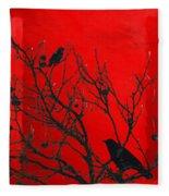 Raven - Black Over Red Fleece Blanket