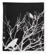 Raven - White Over Black Fleece Blanket