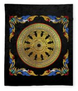 Ancient 12-spoked Gold Dharmachakra - The Wheel Of Dharma Fleece Blanket