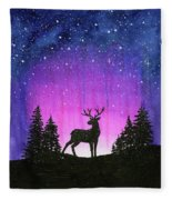 Winter Forest Galaxy Reindeer Fleece Blanket