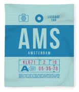 Retro Airline Luggage Tag 2.0 - Ams Amsterdam Netherlands Fleece Blanket