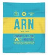 Retro Airline Luggage Tag 2.0 - Arn Stockholm Sweden Fleece Blanket