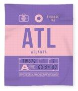Retro Airline Luggage Tag 2.0 - Atl Atlanta United States Fleece Blanket