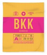 Retro Airline Luggage Tag 2.0 - Bkk Bangkok Thailand Fleece Blanket