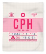 Retro Airline Luggage Tag 2.0 - Cph Copenhagen Denmark Fleece Blanket