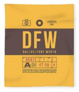 Retro Airline Luggage Tag 2.0 - Dfw Dallas Fort Worth United States Fleece Blanket
