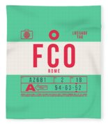 Retro Airline Luggage Tag 2.0 - Fco Rome Italy Fleece Blanket