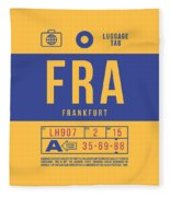 Retro Airline Luggage Tag 2.0 - Fra Frankfurt Germany Fleece Blanket