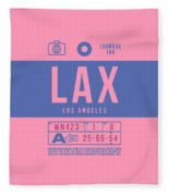 Retro Airline Luggage Tag 2.0 - Lax Los Angeles International Airport United States Fleece Blanket