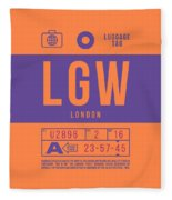 Retro Airline Luggage Tag 2.0 - Lgw London Gatwick Airport United Kingdom Fleece Blanket