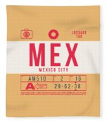 Retro Airline Luggage Tag 2.0 - Mex Mexico City International Airport Mexico Fleece Blanket