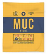 Retro Airline Luggage Tag 2.0 - Muc Munich International Airport Germany Fleece Blanket