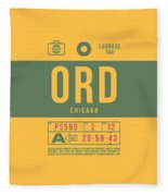 Retro Airline Luggage Tag 2.0 - Ord Chicago O'hare Airport United States Fleece Blanket