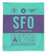 Retro Airline Luggage Tag 2.0 - Sfo San Francisco International Airport United States Fleece Blanket