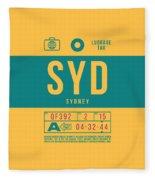 Retro Airline Luggage Tag 2.0 - Syd Sydney Kingsford Smith Airport Australia Fleece Blanket