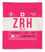 Retro Airline Luggage Tag 2.0 - Zrh Zurich International Airport Switzerland Fleece Blanket