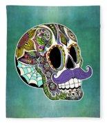 Mustache Sugar Skull Fleece Blanket