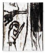 Assassin After Mikhail Larionov Black Oil Painting 10 Fleece Blanket