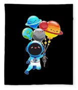 Astronaut With Planet Balloons Outta Space Fleece Blanket