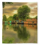 At Home On The River Fleece Blanket