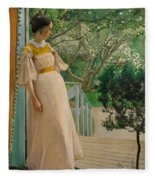 At The French Windows. The Artist's Wife Fleece Blanket