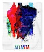 Atlanta Skyline Brush Stroke Watercolor   Fleece Blanket