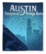 Austin Congress Bridge Bats In Blue Silhouette Fleece Blanket