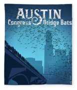 Austin Congress Bridge Bats In Blue Silhouette Fleece Blanket