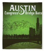 Austin Congress Bridge Bats In Green Silhouette Fleece Blanket