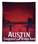 Austin Congress Bridge Bats Fleece Blanket
