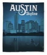 Austin Texas Skyline Fleece Blanket