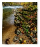 Autumn At Cherry Falls Elk River Fleece Blanket