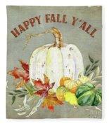 Autumn Celebration - 4 Happy Fall Y'all White Pumpkin Fall Leaves Gourds Fleece Blanket