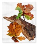 Autumn Oak Leaves And Acorns On White Fleece Blanket