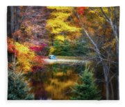 Autumn Pond With Rowboat Fleece Blanket