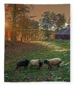 Autumn Sunset At The Old Farm Fleece Blanket