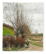 Autumn Weather. A Man With A Wheelbarrow On A Path Fleece Blanket