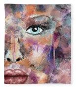 Autumn - Woman Abstract Art Fleece Blanket