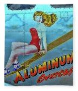 B - 17 Aluminum Overcast Pin-up Fleece Blanket