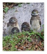 Baby Burrowing Owls Posing Fleece Blanket